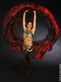 Large half circle belly dance silk veil Tribal Tiger by Silkdancer, $75.00