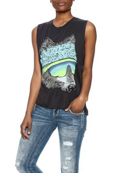 Softcrew neck muscle tank with a wolf graphic. Raw cut armholes and bottom and slight side slits.  Printed Muscle Tank by Lauren Moshi. Clothing - Tops - Tees & Tanks Clothing - Tops - Sleeveless Long Island