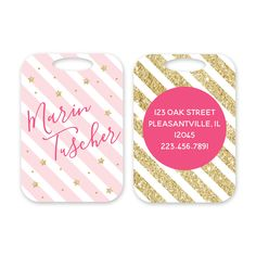 Glam Personalized Luggage Tag by Peony Hill Press. These make great gifts for grads, dads, moms, newlyweds and more! #peonyhillpress #php #luggage #luggagetag #baggage #baggagetag #gift #newlywed #kid #grad #glam #glitter #stripes #stars