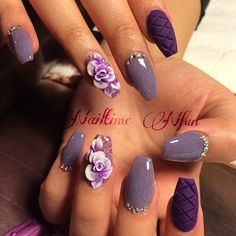 Shades of purple coffin nails with 3D roses