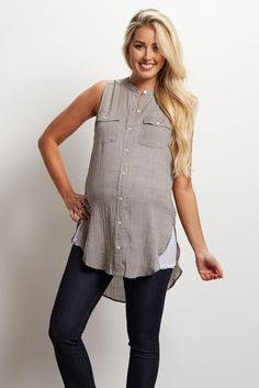 This sleeveless maternity blouse is sure to keep you cool with its lightweight material. A button front and pocket detail will give you a casually chic look you can rock all summer long. Style this top with maternity shorts and sandals for a complete look.
