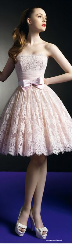 Beautiful lace dress,pink prom #dress 2015  love t...: