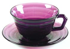 Vintage Hazel Atlas purple cup and saucer