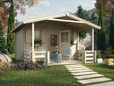 Eine extra komfortable Raumhöhe sowie ein komfortables Platzangebot auf der Terrasse bietet das Satteldach-Gartenhaus Zugspitz 3