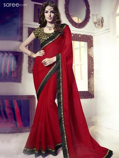 RED CHIFFON SAREE WITH EMBROIDERY WORK
