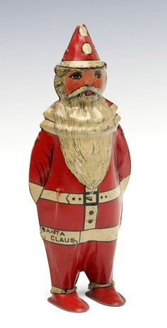 An alternate depiction of Santa Claus with conical hat and low hanging one-piece suit. on Sep 2019 Tin, Auction, Santa, Pewter