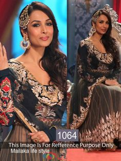 Malaika Arora Silk & Net Thread Work Black & Brown Semi Stitched Bollywood Designer Suit - 1064