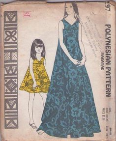 MOMSPatterns Vintage Sewing Patterns - Polynesian Pattern 197 Vintage 60's Sewing Pattern GORGEOUS Hawaiian Goddess Full Flared Makamae Tent Dress, Pleated Panel Front Maxi Cruise Gown Size S