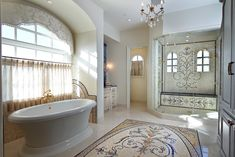 Luxury Bathroom Design With Handcrafted Marble Mosaic Tiles #glass #mosaic #luxuriousmodernbathroom