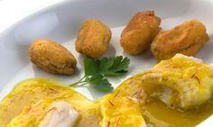 Receta de Lenguado con mejillones rebozados y salsa de azafrán