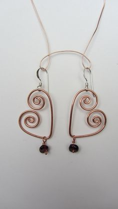 Heart Jewelry Copper Wire with Red Garnet Bead by missrebeccalee, $12.00