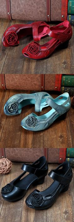 Socofy SOCOFY Rose Leaf Block Hook Loop Vintage Shoes is comfortable to wear. Shop on NewChic to see other cheap women sandals on sale. Mode Vintage, Vintage Shoes, Cute Shoes, Me Too Shoes, Sandals For Sale, Beautiful Shoes, Comfortable Shoes, Boat Shoes, Women's Shoes