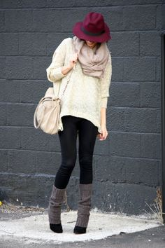 Leggings with leg warmers and booties