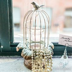 Small Metal Birdcage with Suspended Tealight Holder - Weddingstar