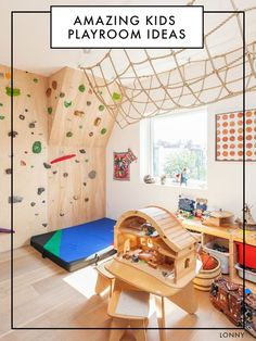 Creating your child's playroom might be the most fun design job in your whole home. While nursery rooms tend to stick to a theme, the refreshing thing about a playroom is that it just needs to be fun. Whether your playroom features a fort, a rock wall, or a mini-kitchen, the following rooms will have your head spinning with cool ideas.