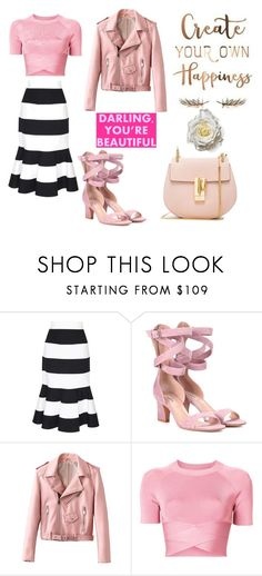 """""""Pink Outfit with Stripes"""" by stylish-sparkles ❤ liked on Polyvore featuring Dolce&Gabbana, Valentino, T By Alexander Wang and Chloé"""