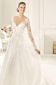 Lace A-line Natural Waist Brush Train V-neck Wedding Dress
