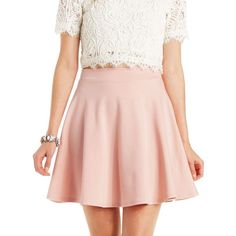 Charlotte Russe Ponte Knit Skater Skirt ($17) ❤ liked on Polyvore featuring skirts, pale mauve, flared skirt, ponte skirt, flare skirt, pink skirt and high waisted skater skirt