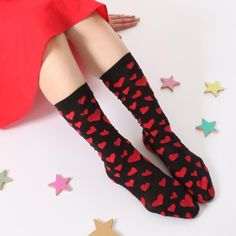 【ココモノママニ】【靴下】夜空に愛を ショート(黒色に赤いハート)