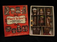 "Bar & Serving Ware  Subscribe to our feed. rss feed icon    Vintage mid century ""What'll Ya Have?"" boxed shot glass / jigger collection. - $35  This boxed collection of novelty ornamental shot glasses of jiggers is in very nice condition given its age. The box does show some typical signs of wear, with a small Christmas theme sticker in one corner and some creasing.  The set consist of a fun collection of 8 stylized and named shot glasses."