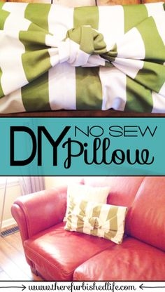 diy no sew pillow covers | www.therefurbishedlife.com | Simple pillow covers you can do yourself without any sewing!