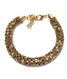 Gold and Black Rhinestone Tube Bracelet – JaeBee Jewelry