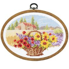 Summer Oval with Frame - Cross Stitch, Needlepoint, Stitchery, and Embroidery Kits, Projects, and Needlecraft Tools | Stitchery