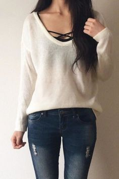 simple sweater and jeans