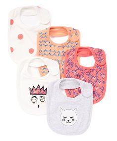 Pink & White Faces Bib Set - Infant