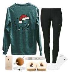 """Merry Christmas"" by so-preppy ❤ liked on Polyvore featuring NIKE, UGG Australia, Topshop, women's clothing, women's fashion, women, female, woman, misses and juniors"