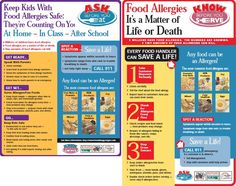 Food Allergy Factsheets - Be aware of the number of children/people dealing with life-threatening food allergies.