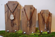 "Wood Necklace Display Set of Three (10"" / 12"" / 14"") Handmade Jewelry Hanging Displays"