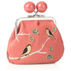 Dark Peach Bird Embroidered Coin Purse ($15) ❤ liked on Polyvore