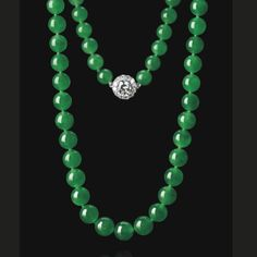 Exceptional Jadeite Bead and Diamond Necklace | Lot | Sotheby's