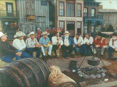 "James Drury, Patrick Wayne, Doug McClure, Chuck Connors, Universal Studios Florida president Tom Williams, Denver Pyle, Robert Fuller, Hal Needham, Ben Johnson and Harry Carey Jr. This was taken at the opening ceremonies of Universal Studios' ""Wild Wild Wild West Stunt Show"" in July 1991."
