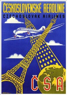 Fantastic A4 Glossy Print - 'Czechoslovak Airlines' - Taken From A Rare Vintage Travel Poster (Vintage Travel / Transport Posters) by Unknown http://www.amazon.co.uk/dp/B005UDWJ1K/ref=cm_sw_r_pi_dp_X3Wovb12S1MMH