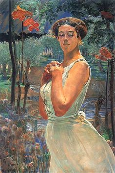 A Woman In A Grove 1917 Acrylic Print by Malczewski Jacek. All acrylic prints are professionally printed, packaged, and shipped within 3 - 4 business days and delivered ready-to-hang on your wall. Caspar David Friedrich, Auguste Rodin, Vincent Willem Van Gogh, Art Station, Art Database, Vintage Artwork, National Museum, Portrait Art, Figurative Art