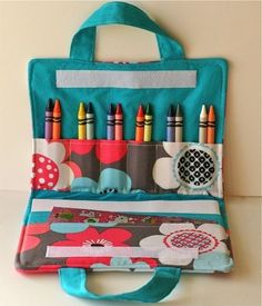 "Crayon and coloring book travel case featured at the blog ""seven thirty three."" (Unsure why, but if you click to follow the link, up pops a Pinterest warning about the page being reported for spam. I didn't see anything spammy on the blog, just lots of cute craft and party ideas.)"