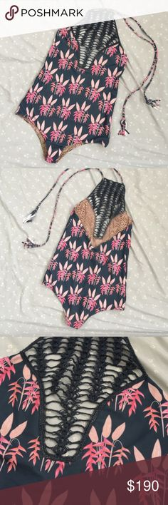 Acacia Teahupoo One Piece - Heliconia Excellent condition Acacia Teahupo'o One Piece in Heliconia print. Like new condition except for the small bit of wax on crochet detail. 9/10 condition. Looking to downsize my swim collection. acacia swimwear Swim One Pieces