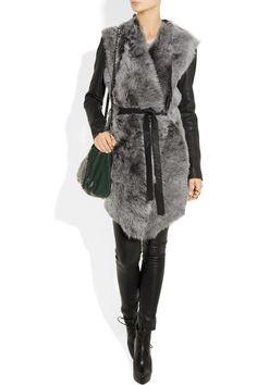 AMINAKA WILMONT  Leather-sleeved shearling wrap coat