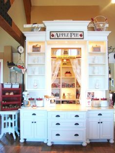 My pantry is an 8 x 8 space, this view is the pass-through window that also serves as my baking center...I love me some pie makin'! #baking center # pantry #farm style #farmhouse