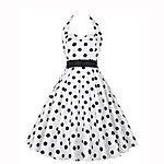 Dames Uitgaan Vintage A-lijn Jurk Polka dot-V-hals Tot de knie Mouwloos Katoen Polyester Zomer Hoge taille Micro-elastisch 2017 - $21.99