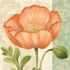 RB8741PG<br>Pastel Poppies II <br> 12x12