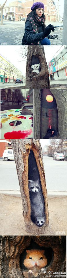 Talented girl turns tree holes into lovely views with her paintbrush.