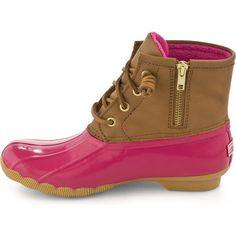 Crazy about these boots! ❤ @SperryTopSider Saltwater Duck Boot in Cognac/Pink ~ love! #NeedTheseShoes #MustHave #pinning
