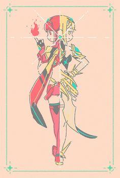 Xenoblade Chronicles 2 - Pyra/Pneuma and Mythra/Pneuma Character Drawing, Character Design, Xenoblade Chronicles 2, Best Rpg, Comic Manga, Dog Boutique, Super Smash Bros, Fantasy World, Fire Emblem