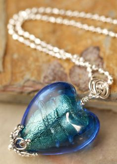 Electric Blue Venetian Glass Heart Necklace on sterling silver chain
