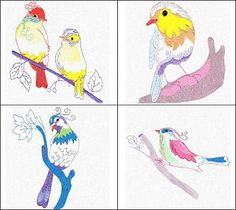 """""""Colorful Birds"""" wing your way over to check out these 10 birds that combine linework with interesting fill stitched areas!"""