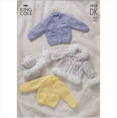 2915 King Cole Knitting Pattern Baby Child Cardigan Loopy Jacket & Hat DK 12-22""