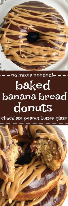 Donuts made a bit healthier by baking instead of frying! These baked banana bread donuts are so soft, fluffy, and loaded with sweet banana flavor. Mix up an easy chocolate & peanut butter glaze and you have a delicious homemade donut. Plus, no mixer neede
